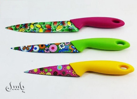 چاقو رنگی سه تکه طرحدار گل