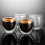 خرید لیوان دوجداره شیشه ای ۶ عددی | لیوان شیشه ای دوجداره
