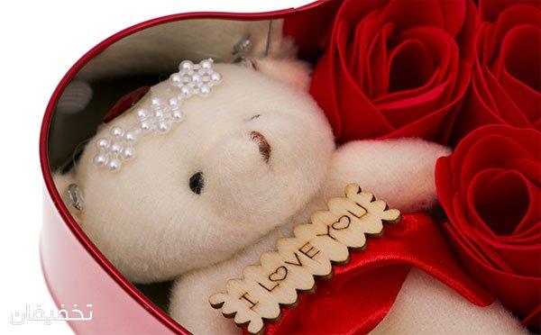جعبه فلزی قلبی گل و خرس