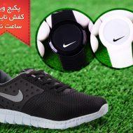 خرید پکیج کفش مردانه Nike Air و ساعت ال ای دی Nike Snow