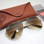 خرید عینک ری بن شیشه قهوه ای فرم طلایی original