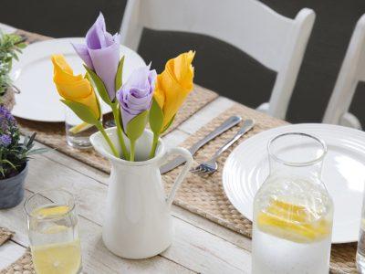 خرید نگهدارنده تزیینی دستمال سفره طرح گل رز با تخفیف ویژه